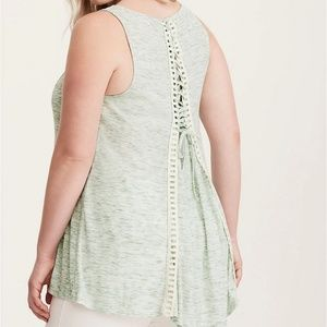 Lace back Green Tank top